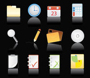 Office Icons - black background Royalty Free Stock Photography