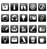 Office icons on black squares Stock Photos
