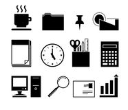 Office icons, black and white Royalty Free Stock Image