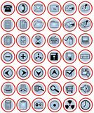 Office icons on blue buttons. 42 blue gradient buttons with useful office icons Stock Photography
