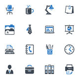 Office Icons - Blue Series. Set of 16 office icons, great for presentations, web design, web apps, mobile applications or any type of design projects vector illustration