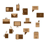 Office icons in brown Stock Photo