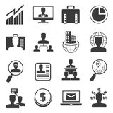Office icons and business icons. Set of 16 organization management icons, office icons Stock Photo