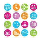 Office icons. Collection of 16 office icons in colorful buttons Stock Image