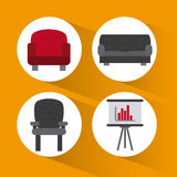 Office icons desgin Royalty Free Stock Images