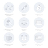 Office icons flat design Line icons style royalty free illustration
