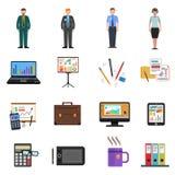 Office Icons Flat Set Royalty Free Stock Photos