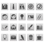 Office icons on gray squares Royalty Free Stock Photo