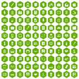 100 office icons hexagon green. 100 office icons set in green hexagon isolated vector illustration Royalty Free Stock Photography