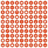 100 office icons hexagon orange. 100 office icons set in orange hexagon isolated vector illustration Stock Illustration