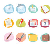Office Icons Retro Revival Collection - Set 1. Professional Office icon collection for websites, applications or presentations Stock Photos