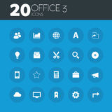 Office 3 icons on round blue buttons Royalty Free Stock Photo