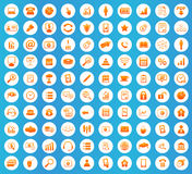 Office icons round set. Office icons set, orange image in white circle on blue background Royalty Free Stock Photos