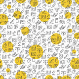 Office icons seamless pattern with yellow rounds Stock Photography