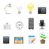 Office icons set. Set of vector office and business work icons Stock Image