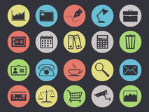 Office icons set  on black. Background. Business and finance Royalty Free Stock Photography