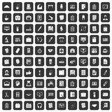 100 office icons set black. 100 office icons set in black color isolated vector illustration Stock Photo