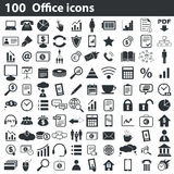 100 office icons set. Black, on white background Royalty Free Stock Photos