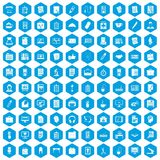 100 office icons set blue. 100 office icons set in blue hexagon isolated vector illustration stock illustration