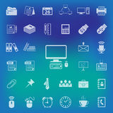 Office Icons set on blur background. vector . illustration Stock Image