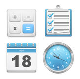 Office Icons. Set of office icons - calculator, clipboard with checklist, calendar and clock Royalty Free Stock Photography