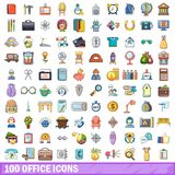100 office icons set, cartoon style. 100 office icons set. Cartoon illustration of 100 office vector icons isolated on white background Stock Photos