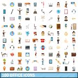 100 office icons set, cartoon style. 100 office icons set in cartoon style for any design illustration vector illustration
