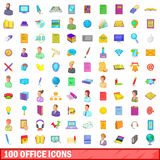 100 office icons set, cartoon style Royalty Free Stock Photography