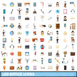 100 office icons set, cartoon style Stock Images
