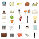 Office icons set, cartoon style Stock Images