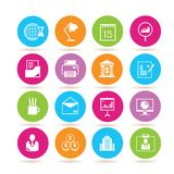 Office icons. Set of 16 office icons in colorful buttons Stock Photo
