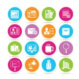 Office icons. Set of 16 office icons in colorful buttons Stock Image