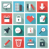 Office icons. Set of 16 Office icons. Flat design stock illustration