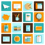 Office icons set flat Royalty Free Stock Image