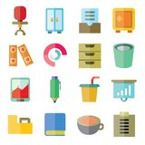 Office icons. Set of 16 office icons flat style stock illustration