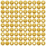 100 office icons set gold. 100 office icons set in gold circle isolated on white vector illustration Stock Illustration