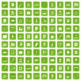 100 office icons set grunge green Royalty Free Stock Photos