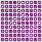 100 office icons set grunge purple. 100 office icons set in grunge style purple color isolated on white background vector illustration Royalty Free Illustration