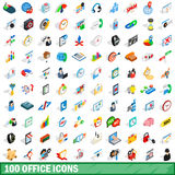 100 office icons set, isometric 3d style. 100 office icons set in isometric 3d style for any design vector illustration Royalty Free Stock Image
