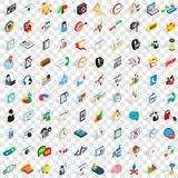 100 office icons set, isometric 3d style Stock Images