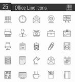 Office Icons. Set of 25 office line icons Royalty Free Stock Photography