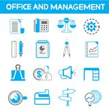 Office icons. Set of 16 office and management icons Royalty Free Stock Images