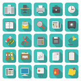 Office Icons. Set of modern flat office icons with long shadows Stock Photo