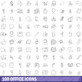 100 office icons set, outline style. 100 office icons set in outline style for any design vector illustration Royalty Free Stock Photos