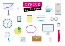 Office. Icons set, for presentation, flat design, multimedia, vector, 20 pieces stock illustration