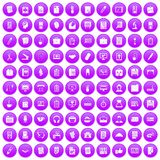 100 office icons set purple. 100 office icons set in purple circle isolated on white vector illustration Vector Illustration