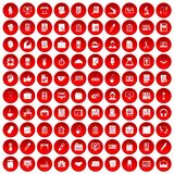 100 office icons set red. 100 office icons set in red circle isolated on white vector illustration Royalty Free Stock Photos