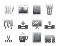 Office Icons Set Silhouette Series Signs Stock Photography