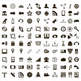 100 office icons set, simple style. 100 office icons set in simple style on a white background Stock Photos