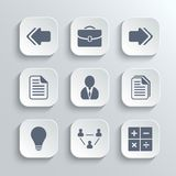 Office icons set - vector white app buttons Royalty Free Stock Photo